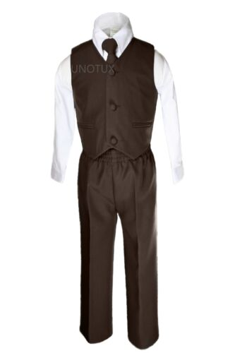 New Boy 4 PC D Brown vest Set Formal Easter Party sz S M L XL 2T 3T 4T 5 6 7