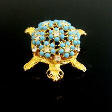 60's wunderschöne Blüten Schildkröte, Strass &  türkise Perlen Brosche, Broche