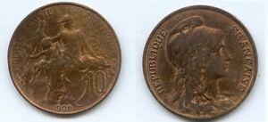 **gertbrolen 10 Centimes Type Dupuis 1908 Surface LustréE