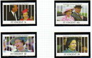 St-VINCENT-1991-QUEEN-65th-BIRTHDAY-SET-OF-ALL-4-COMMEMORATIVE-STAMPS-MNH