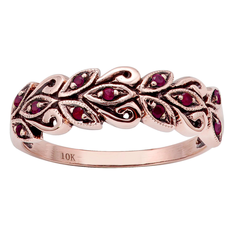 10k pink gold Genuine Ruby Scroll Anniversary Ring