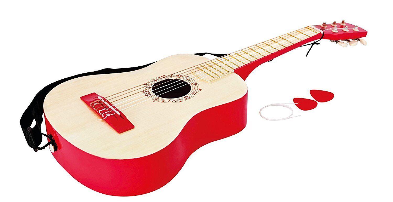 Hape-E0325-Early Melodies-Vibrant Guitare en bois instrument-Rouge