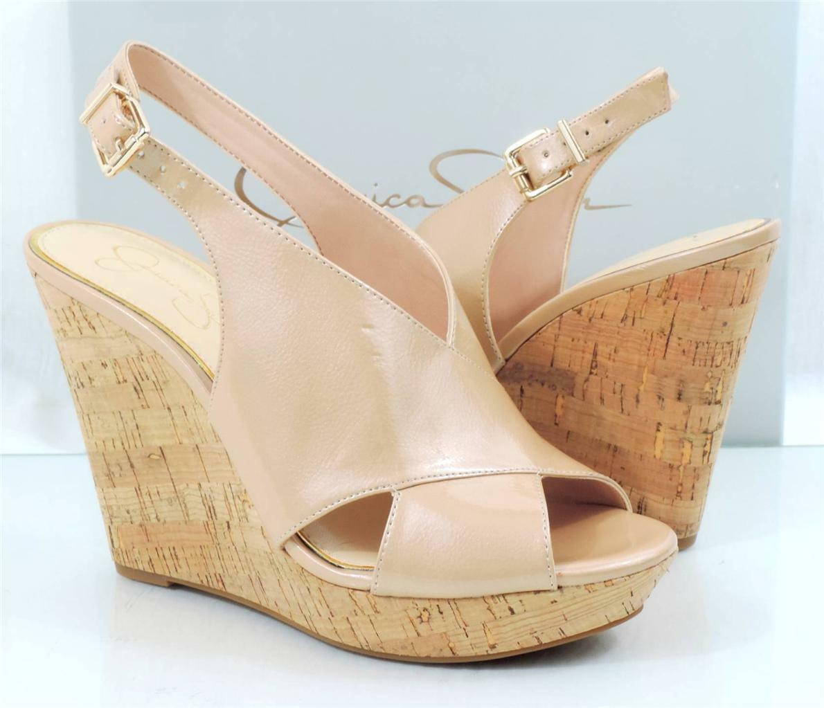 Jessica Simpson Colavita Platform Wedge Heels sandal Powder Nude Patent Size 9.5
