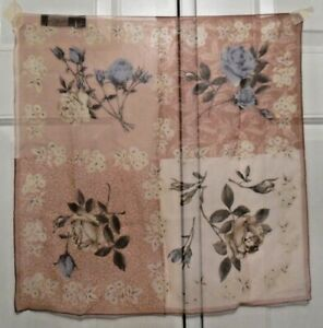 TERRIART-Four-Blocks-of-Floral-Illustrations-Beige-SILK-20-034-Sq-Scarf-Vintage