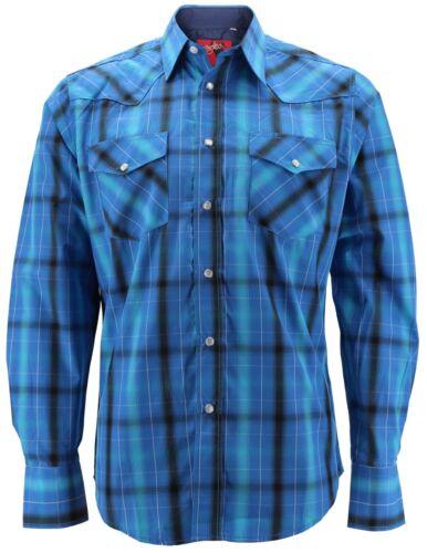 Rodeo Clothing Men/'s Premium Western Cowboy Pearl Snap Long Sleeve Plaid Shirt