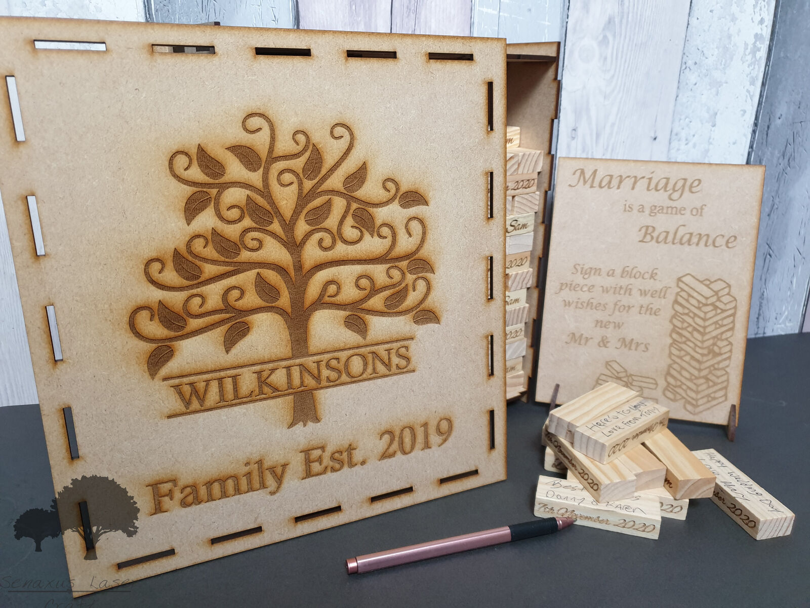 Wooden block game wedding Guestbook, 78, 108 or 153 blocks in an engraved box.