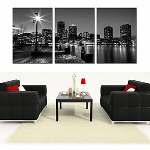 Image is loading Boston-Skyline-ready-to-hang-mounted-canvas-wall- & Boston Skyline ready to hang mounted canvas wall art print/surpassed ...