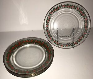 6 Arcoroc Glass Christmas Luncheon Desert Plates Holly