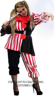 Halloween/Clowns/Scary/BLACK/RED/WHITE CLOWN COMPLETE COSTUME Ladies Sizes 10-14