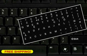 English-UK-Keyboard-Replacement-Stickers-White-on-Black-Any-PC-Computer-Laptop