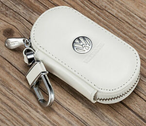 Elegant cowhide leather car keybag keyring key chain personalised for VOLKSWAGEN