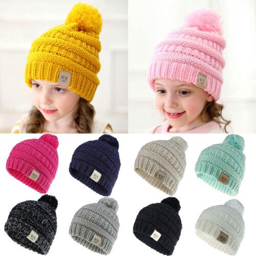 US Stock Kid Baby Warm Winter Knit Wool Beanie Fur Pom Bobble Hat Crochet Cap