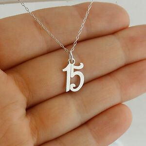Sterling Silver Number 15 Years Fifteen Charm Pendant