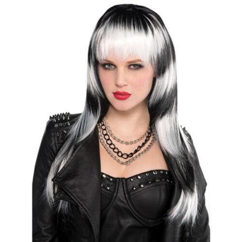 Black /& White Halloween Horror Vampire Witch Evil Fancy Dress Wig