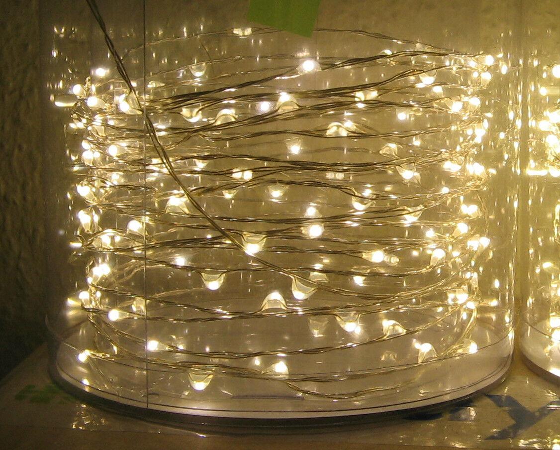 10m  100 Lichter Micro LED Lichterkette Silberdraht Außen Draht Trafo Warmweiß  | Sehr gute Qualität