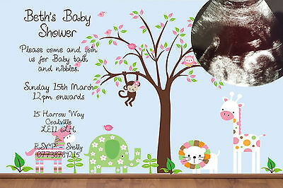 Personalised Scan Image Animal Baby Shower Party Invitations inc. Envelopes BA3