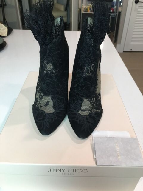 b8637c791ccd JIMMY CHOO Kamaris Lace Ankle Bootie Black Suede Size 39 US 9
