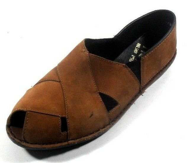 Rieker Brown Leather Peep Toe Closed Back Women's Slip On Sandal Flat Sandal On Shoe 6.5M 235104