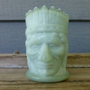 ST CLAIR Summit Seamist Green Glass TOOTHPICK HOLDER Native American INDIAN