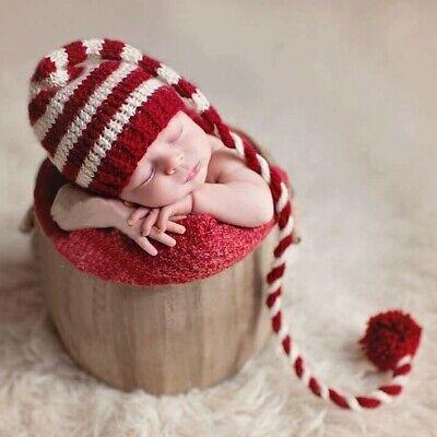Newborn Baby Boys Girls Christmas Santa Claus Knit Hat Photography Props Costume