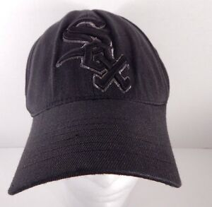 the latest 487cb 4827b Image is loading Chicago-White-Sox-Black-Fitted-Small-Medium-Hat-