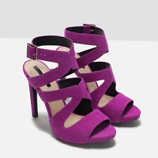 NWT ZARA PURPLE HIGH HEEL SANDALS WITH BUCKLE SIZE 8 SOLD OUT