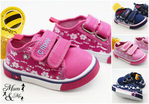 Kids Baby Infant Girls Shoes Rubber Sole Slippers First Velcro Strap Canvas Slip