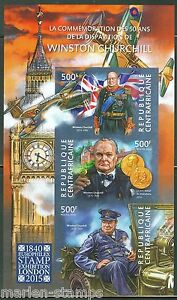 CENTRAL AFRICA 50th MEMORIAL ANNIVERSARY OF WINSTON CHURCHILL IMPRF SHT MINT NH