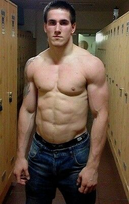 Shirtless Muscular Male in Boxers Nice Chest Abs V shape