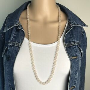 Vintage-50-039-s-Natural-Rose-Quartz-8mm-Beaded-Hand-Knotted-Strand-Necklace-32-inch