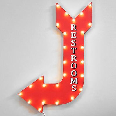 """Restrooms Bulb Looking Letters Novelty Metal Arrow Sign 17/"""" x 5/"""" Wall Decor DS"""