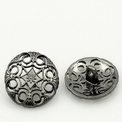 "25PCs Gunmetal Hollow Round Metal Shank Buttons 20mm(6/8"") Dia"