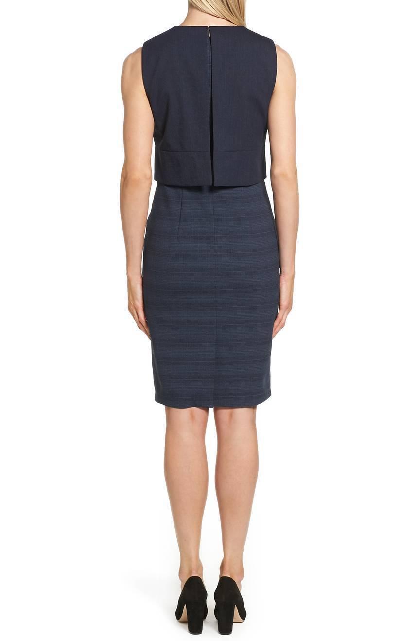 HUGO BOSS Navy bluee Overlay Popover Bodice Dalera Wool Wool Wool Stretch Sheath Dress 10 ed38a2