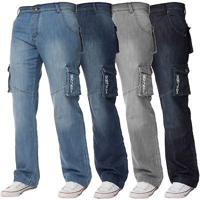 Kruze Big Mens Combat Jeans King Tall Leg Cargo Trousers Denim Pants All Waists