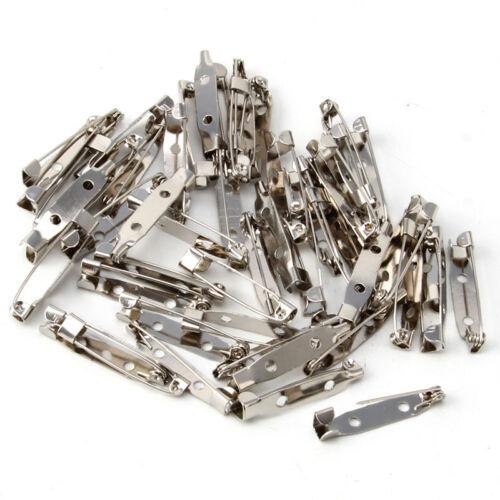50Pcs Safety Brooch Catch Bar Locking Pins 15-40mm Back Base Findings DIY Craft