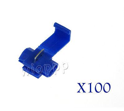 100PCS Blue Crimp Electrical Lock Wire Connectors Quick Splice Terminals