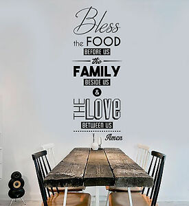 Image Is Loading Vinyl Wall Decal Bless The Food Prayer Dining