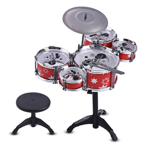 Children Kids Jazz Drum Set Kit Musical Educational Instrument Toy 5 Drums T8O9