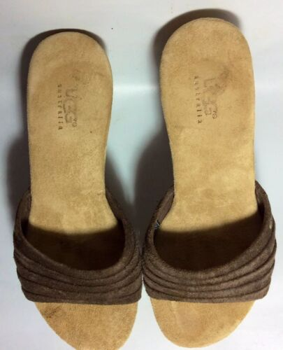 UGG Womens sz Brown Woven Leather Rubber sandal We