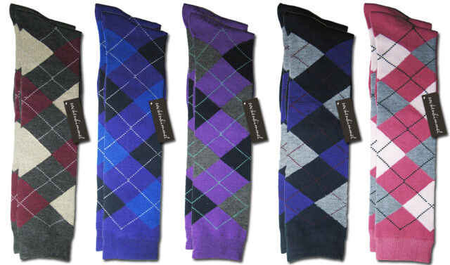Womans Boot Socks - Knee High Riding Socks - 6Pairs - Argyle - 95% Cotton !!!