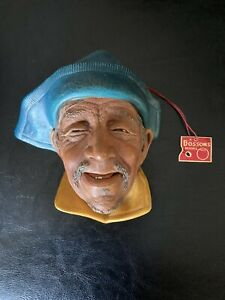 Vintage Bosson Chalkware Sardinian With Blue Hat and original tag