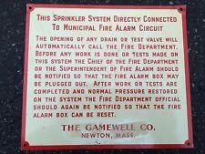 Vintage Gamewell Fire Box Sprinkler Warning Sign