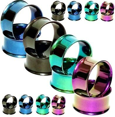 Pair Titanium Ear Tunnels Gauges Flesh Ear Tunnels Stainless Steel Ear Gauges