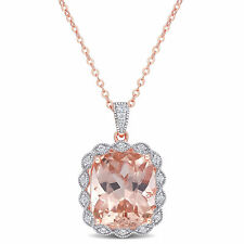 Amour Pink Silver CZ & Created Morganite Halo Necklace