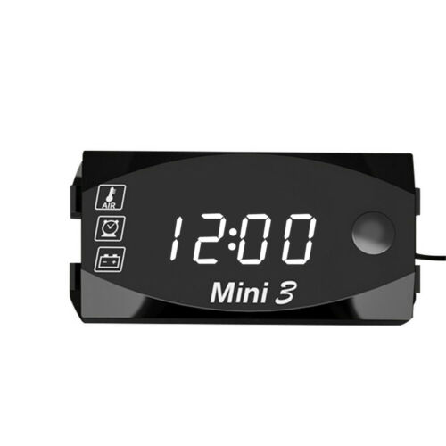 Digital LED Electronic 3in1 Time Clock Thermometer Voltmeter For 12V Motorcycle