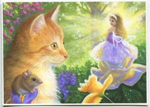 ACEO GINGER CAT KITTEN PURPLE ROSE FAIRY MOUSE SUNBEAMS GARDEN FLOWERS ART PRINT