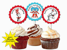 Dr Seuss THE CAT IN THE HAT personalized cupcake toppers birthday party favor