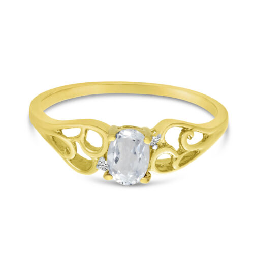 Details about  /14k Yellow Gold Oval White Topaz And Diamond Ring