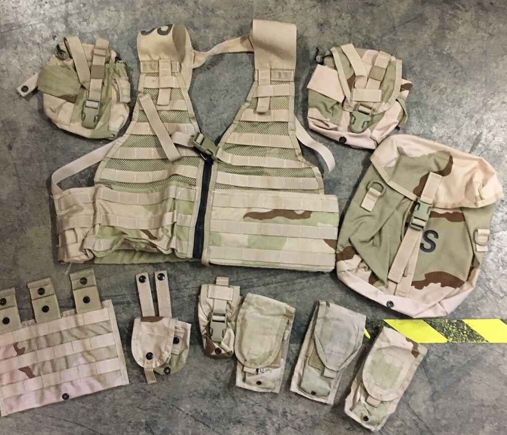 US Army USGI 3 Farbe Desert DCU camouflage Weste Vest Tasche pouch Set 10 teilig