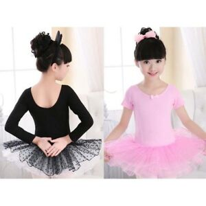 d1b8b4c71579 UK Baby Girls Kids Leotard Dance Dress Costumes Lace Ballet Tutu ...